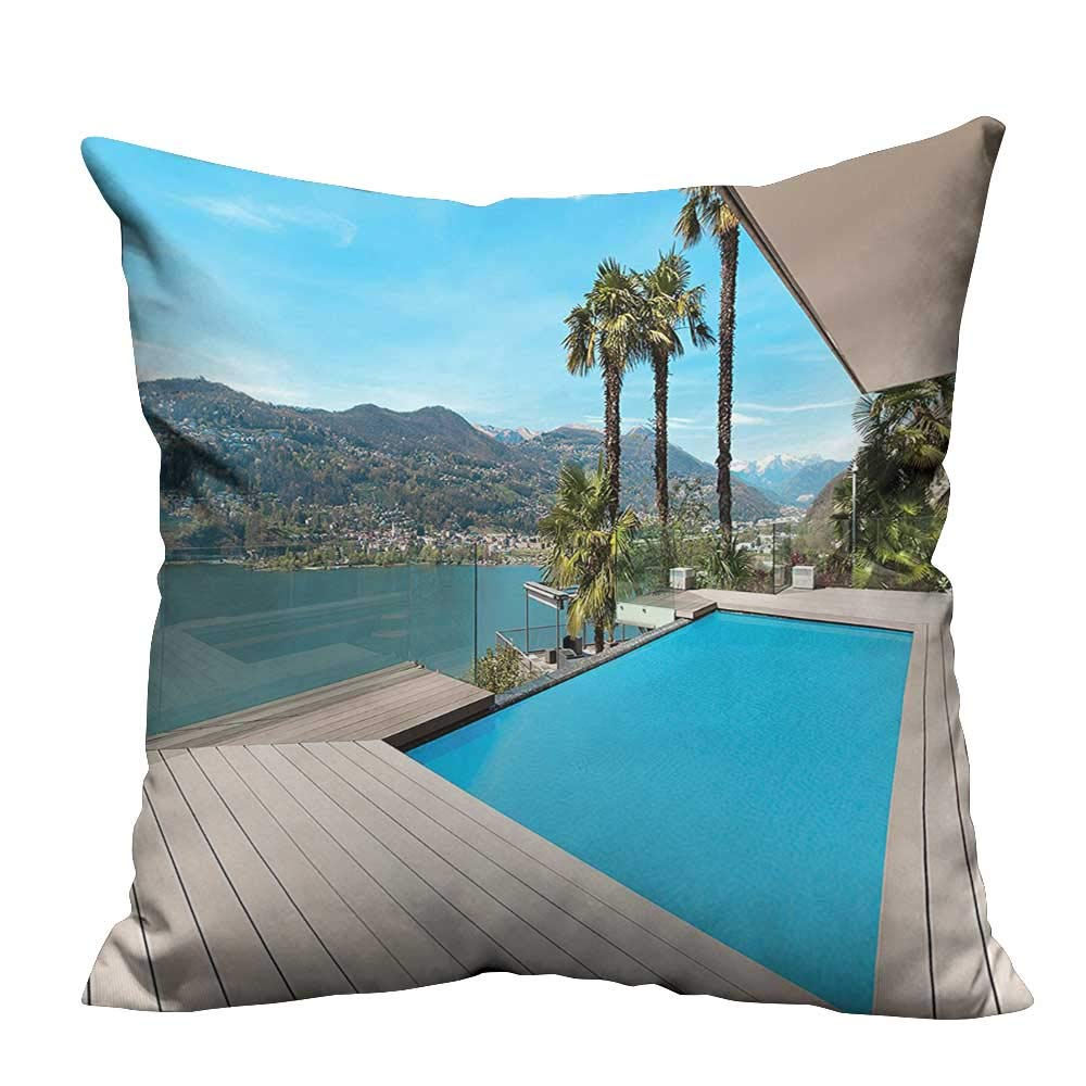 YouXianHome Sofa Waist Cushion Cover Modern House Beautiful Patio with Pool Outdoor Wooden Deck Timber Residence Pho Decorative for Kids Adults(Double-Sided Printing) 35x35 inch