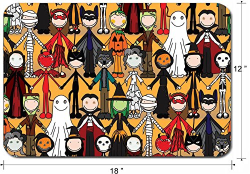 Liili Large Mouse Pad XL Extended Non-Slip Rubber Extra Large Gaming Mousepad, 3mm thick Desk Mat 18x12 Inch Seamless pattern made of illustrated kids in Halloween costumes IMAGE ID 32186706 -