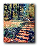 Waterfall And Fallen Autumn Leaves On Steps Scenery Nature Wall Decor Art Print Poster (16x20)