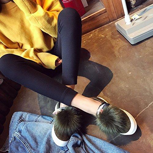 Zapatos Gruesos Del Nudo Del Arco Zapatos Gruesos Zapatos de Cachemira Rojos Zapatos de Moda Zapatos Planos de Guisantes de Las Mujeres , gris , EUR 35.5