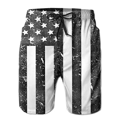 421ed37c8d 0GR Black and White American Flag Summer Breathable Quick-Drying Swim  Trunks Beach Shorts Board Shorts for Father's Day | Amazon.com
