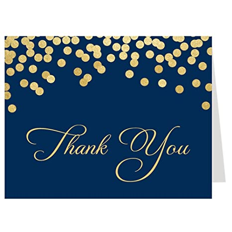 sophisticated sparkle bridal shower thank you cards navy gold thank you