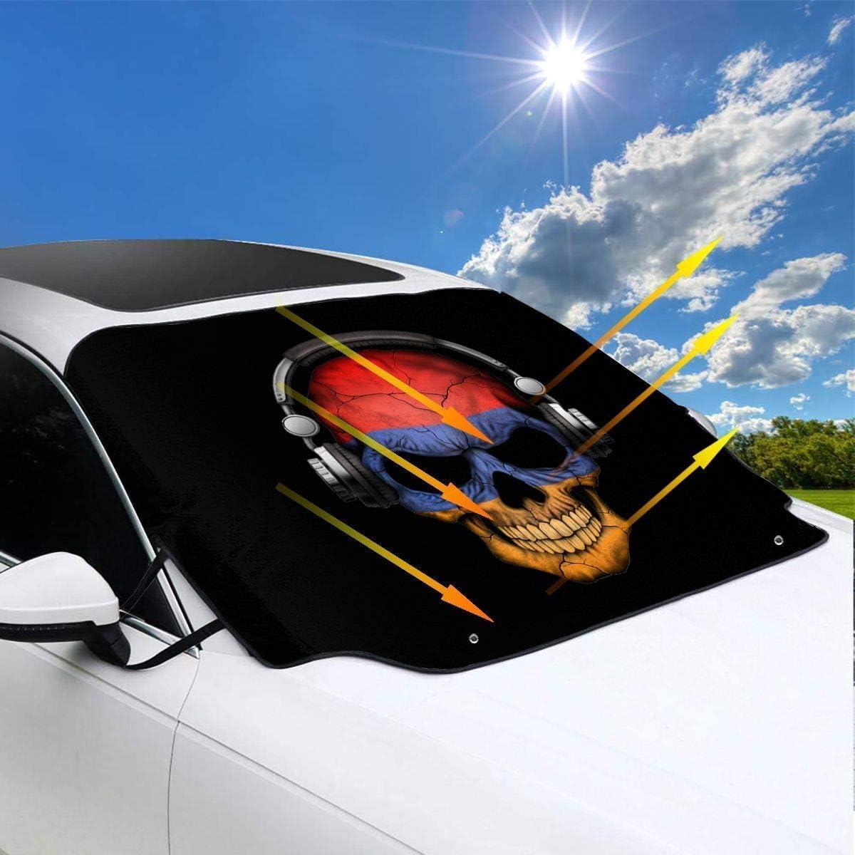57.9inchx46.5inch Protect U Dark Skull Deejay mit armenischer Flagge Windschutzscheibe Schneedecke Ice Cover Auto Windschutzscheibe Sonnenschutz