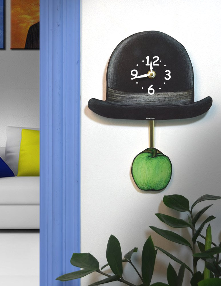 Surrealist Derby Hat and Green Apple Pendulum Wall Clock, Made in USA