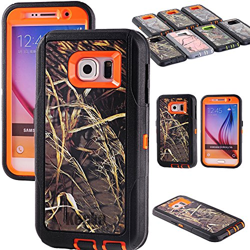 Kecko(TM) Heavy Duty Defender 3-layer Tough Rubber Shockproof Weather Water Resistant Natural Tree Camo Rugged Silicon Impact Built-in Screen Protector Hybrid Case w/ Camouflage Wood Design for Samsung Galaxy S6 (AT&T, Verizon, T-Mobile, Sprint) Only--Branch/Leaves on the Core for Girls & Boys (Gras Orange)