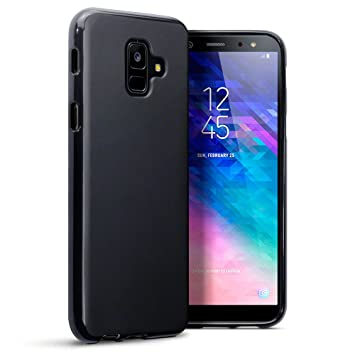 sale retailer 614eb c876d TERRAPIN, Compatible with Samsung A6 2018 Case, TPU Gel Cover - Solid Black  Matte Finish