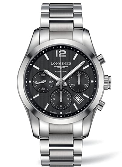 Longines Conquista clásico Automático Negro Dial Acero inoxidable Acero Mens Reloj L27864566 por Longines: Amazon.es: Relojes