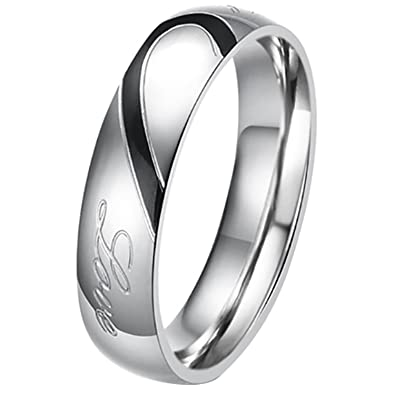 19ad498983aa3 His or Hers (Priced Separate) Real Love Heart Stainless Steel Band Ring  Promise Ring Valentine Love Couples Wedding Engagement