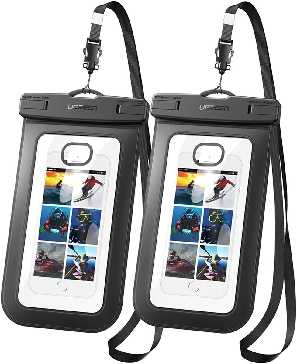 Underwater Phone Pouch with Neck Strap for iPhone Screen Size up to 7.5 to fit Samsung S20 Ultra XL IPX8 Waterproof Phone Case or to fit Your Phone//Keys//Cards//Money for Water Sports. Black
