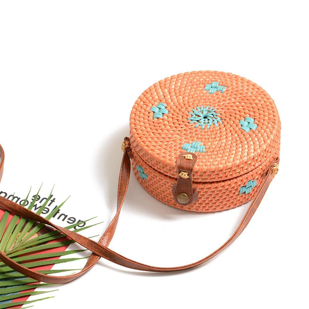 Colorful Bag Vintage Hand-Woven Round Rattan PU Shoulder Strap Bag Straw Bag by Oshide (Image #2)
