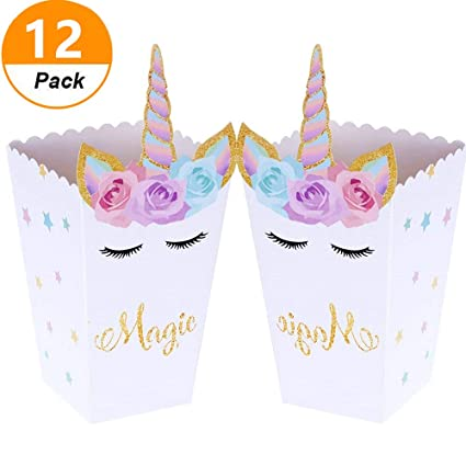 Set Of 12 JeVenis Magical Unicorn Party Favor Boxes Popcorn Treat