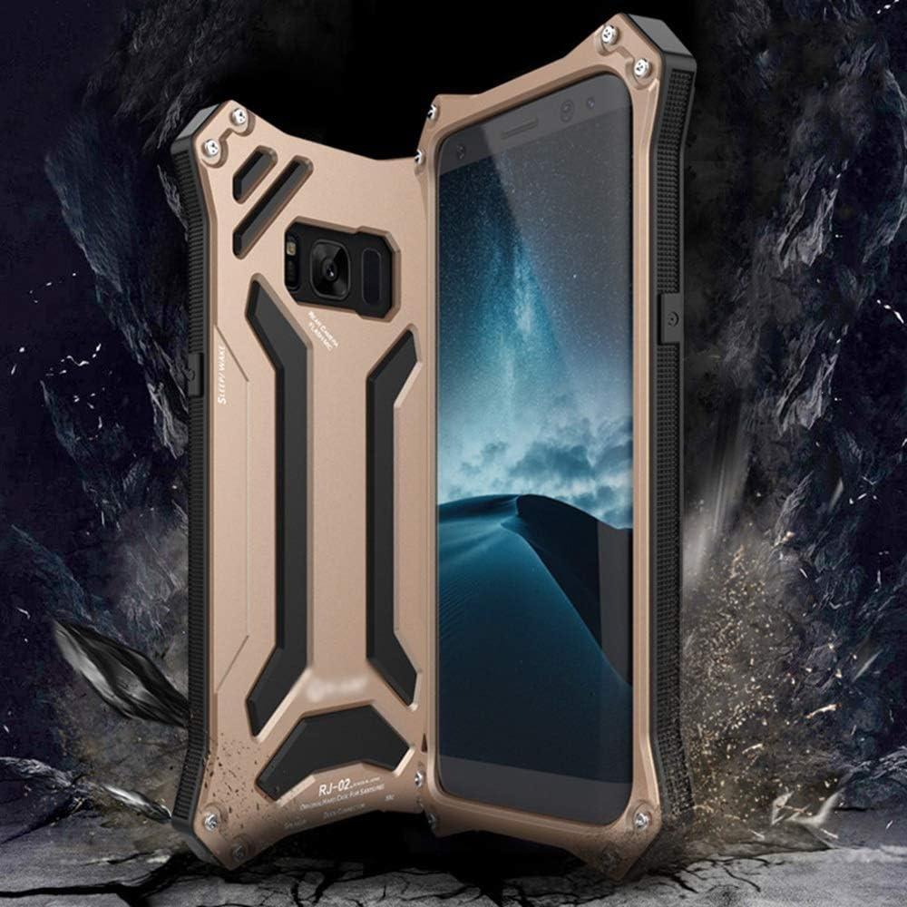 ACHAOHUIXI サムスンS8、S8プラス、S9、S9プラス、注8の高級デザインの落下防止携帯電話ケース金属ハードシェル携帯電話フレームシェル電話ケース (Color : ゴールド, Edition : S9 Plus)