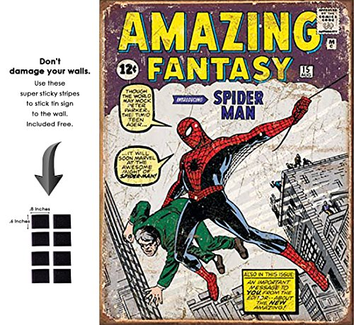 Shop72 Tin Sign Marvel Comic Series Spiderman Super Hero Metal Tin Sign Retro Vintage - With Sticky Stripes . No Damage to Walls