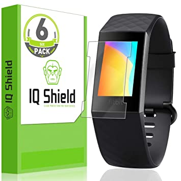 [6-Pack] IQ Shield LiQuidSkin Clear Screen Protector for Fitbit Charge 3  [Compatible w/Charger][Version