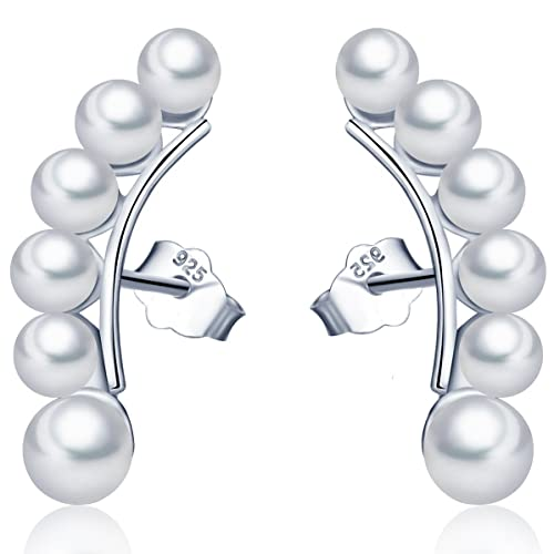 compra original 2019 original precio bajo Elegantes pendientes trepadores de plata de ley 925 con diseño de perlas,  para mujer, de la marca Infinite U