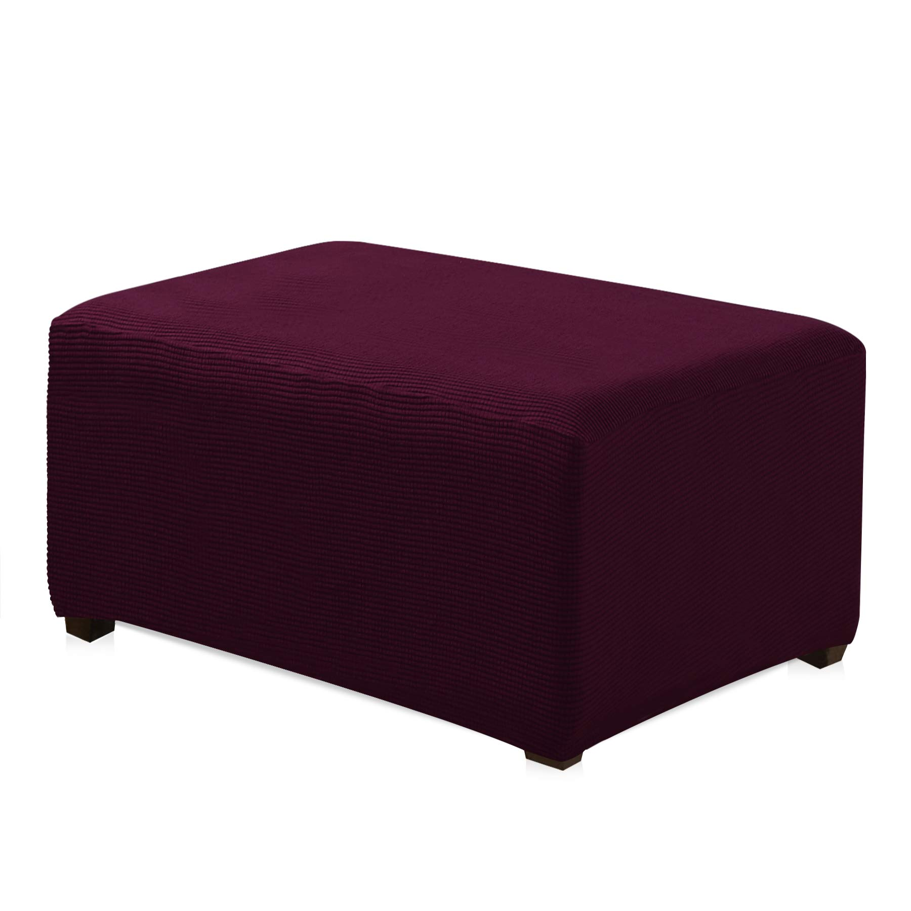 CHUN YI Jacquard Polyester Stretch Fabric Oversized Ottoman Slipcover for Living Room (Oversize, Dark Magenta)