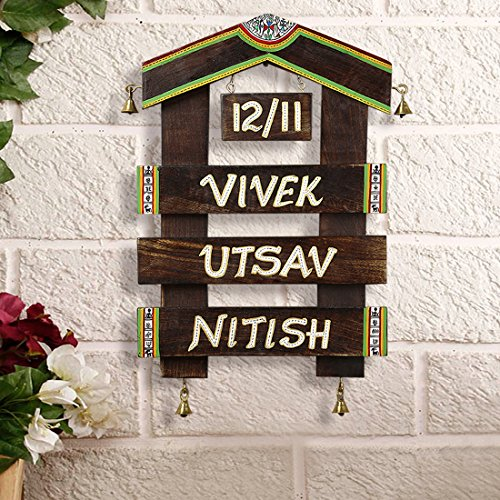 ExclusiveLane 'Home Of The Heart' Customisable Hut Shaped Warli Name Plate In Wood With Handwritten Fonts -Nameplate For House Personalised Nameplates Outdoor Decor Home Decorative - Hut Names