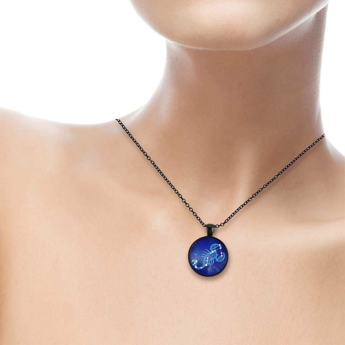 Lightrain Constellation Scorpio Pendant Necklace Vintage Bronze Chain Statement Necklace Handmade Jewelry Gifts