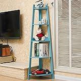 Solid Wood Shelves Multi - function Bedroom Storage Rack Trapezium Shelf Living Room Corner Flower Stand Floor Bookshelf ( Color : Blue )