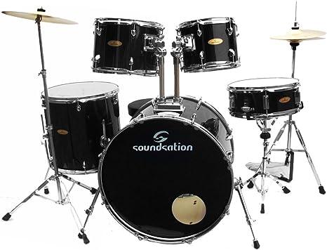 Soundsation sk bk batteria acustica nera completa piatti