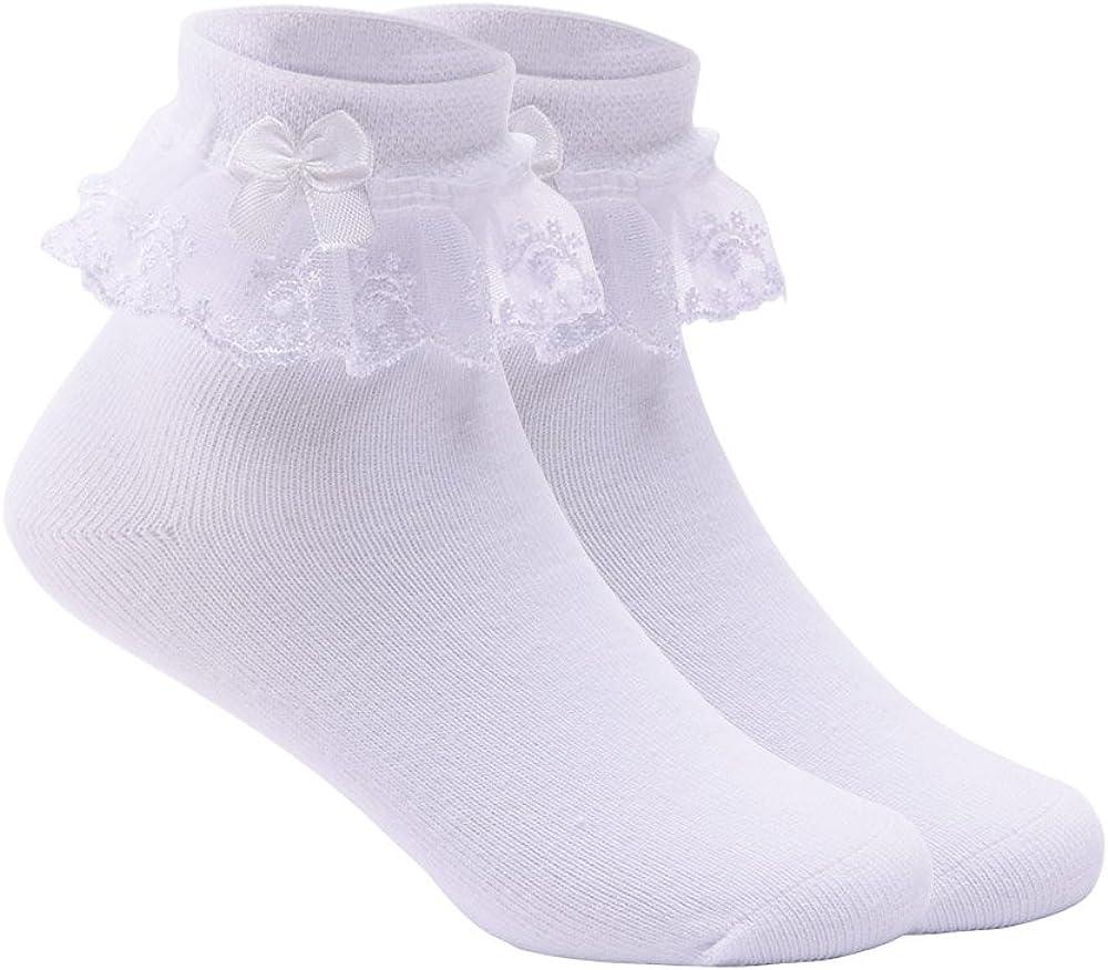 Refaxi Kid Fille Cheville Haute Doux Dentelle Froufrous Ruffle Coton Princesse Chaussettes Grand Arc Blanc 15-17 cm 5 ans +