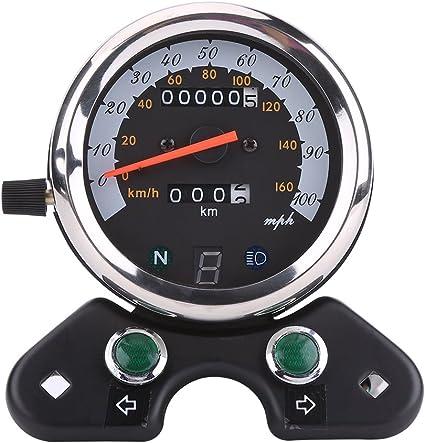 2 colores Color : Plata VGEBY Od/ómetro de La Motocicleta Digital Veloc/ímetro Tac/ómetro con LED Luz de Se/ñal Indicador de Velocidad