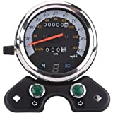 Qiilu Universal Motorcycle Dual Speedometer Odometer Tachometer Gauge 95mm Mounting Hole with Cable, Speed Pointer…