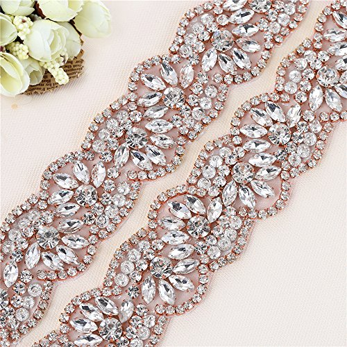 Trim Silk Gown (Rose Gold Bridal Wedding Dress Sash XINFANGXIU Belt Applique 1 Yard Crystals Rhinestones Embellishments for Women Gown Prom Clothes Handcrafted Sparkle Glorious used by Sewn or Iron on)