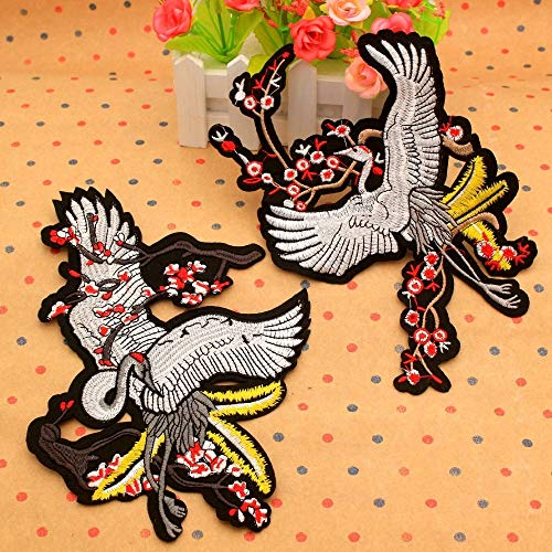 Patches - 2019 Diy 3d Red Crowned Cranes And Cherry Blossoms Bird Embroidery Patch Swan Applique Cloth - Silver Duck Maker Large Tree Iron Machine Machines Backing Applique Adhesive Space (Best Sword Anime 2019)