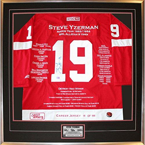 Autograph-Authentic-CJCJH30050-Steve-Yzerman-Framed-Career-Jersey