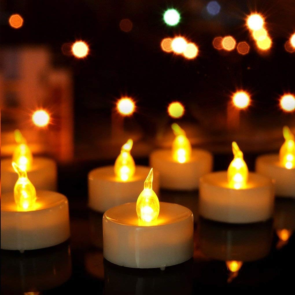 Long Lasting Battery Operated Electric Votive Candle Pack of 24 Amber Yellow Flickering Bulbs Realistic /& Bright Faux Tealight Candle Fake Candle Dia 1.4 Inch AMBOX-HOM-SC-03070 Ambox Flameless LED Tea Light Candles