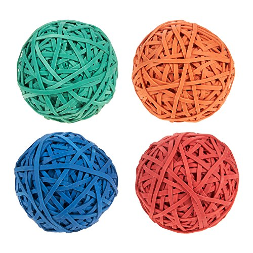 Set of 4 Colorful Rubber Band Balls - Elastic Rubber Bands Pack, Rubber Band Balls for DIY, Arts and Crafts, Document Organizing, Green, Blue, Orange, Red - Pitching Rubber Dimensions
