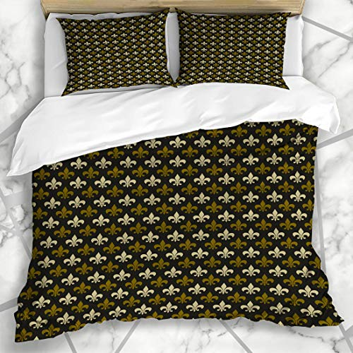 - Ahawoso Duvet Cover Sets King 90x104 Brass Brown Masculine Fleur De Lis Pattern Old Abstract Green Colonial Antique Black Design Medal Microfiber Bedding with 2 Pillow Shams