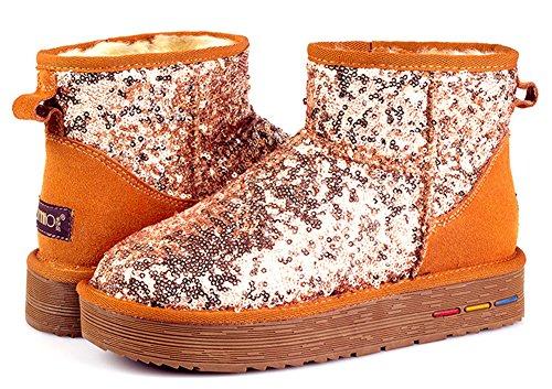 Idifu Womens Trendy Warme Pailletten Platte Sneeuw Enkel Booties Kastanjebruin