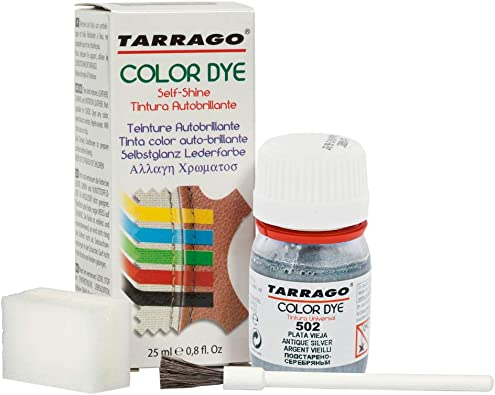 Tarrago | Self Shine Color Dye 25 ml | Tintura Autobrillante para Zapatos y Accesorios | Cubre Rozaduras y Desgastes del Calzado | Plata Vieja (502)