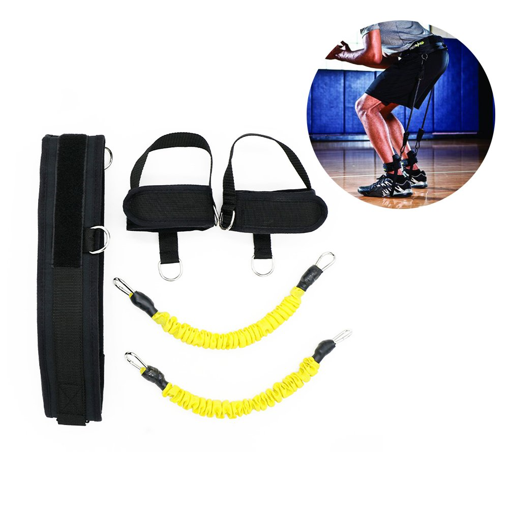 HemeraPhit Vertical Jump Trainer Set Bounce Resistance Band Agility Training Strap (Yellow)