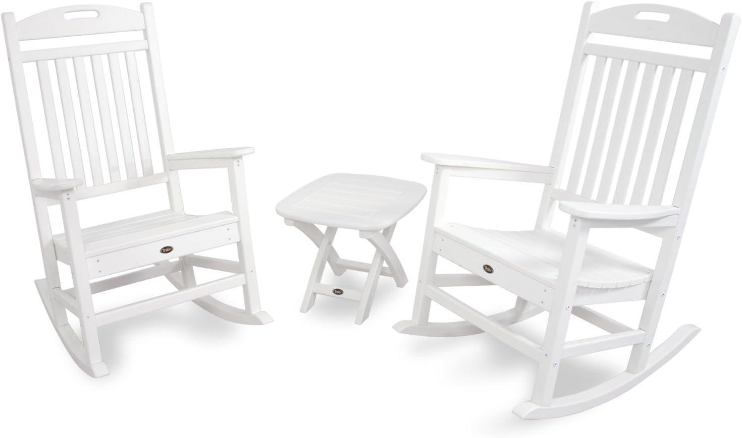 Trex Outdoor Furniture TXS121-1-CW Yacht Club 3-Piece Rocker Chair Set, Classic White