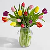 ProFlowers - 15 Count Multi-Colored 15 Multi-Colored Tulips w/Free Clear Vase - Flowers Mothers Day