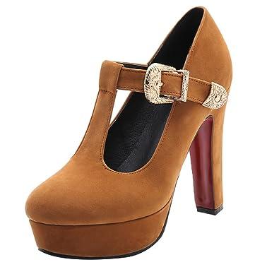Damen T Spange High Heels Plateau Pumps mit Blockabsatz und Riemchen Schnalle Geschlossen Schuhe