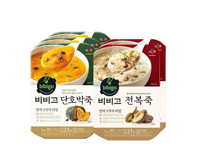 [ 5 Packs ] CJ Bibigo Korean Sweet Pumpkin Porridge 단호박죽 280g x 3, Abalone Porridge 전복죽 280g x 2