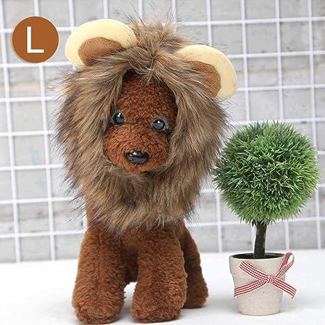 AOLVO Lion Mane Peluca para Gato y Perro, Perro león Hombre Disfraz de Gato con