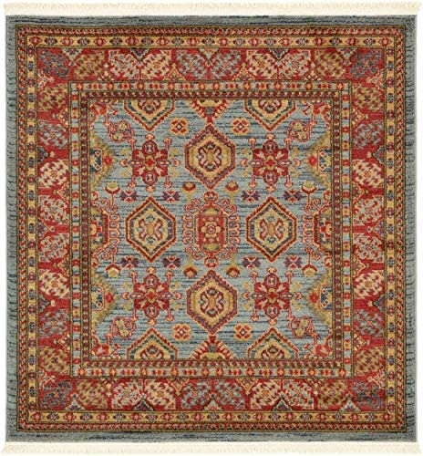 Unique Loom Sahand Collection Traditional Geometric Classic Light Blue Square Rug 4 0 x 4 0