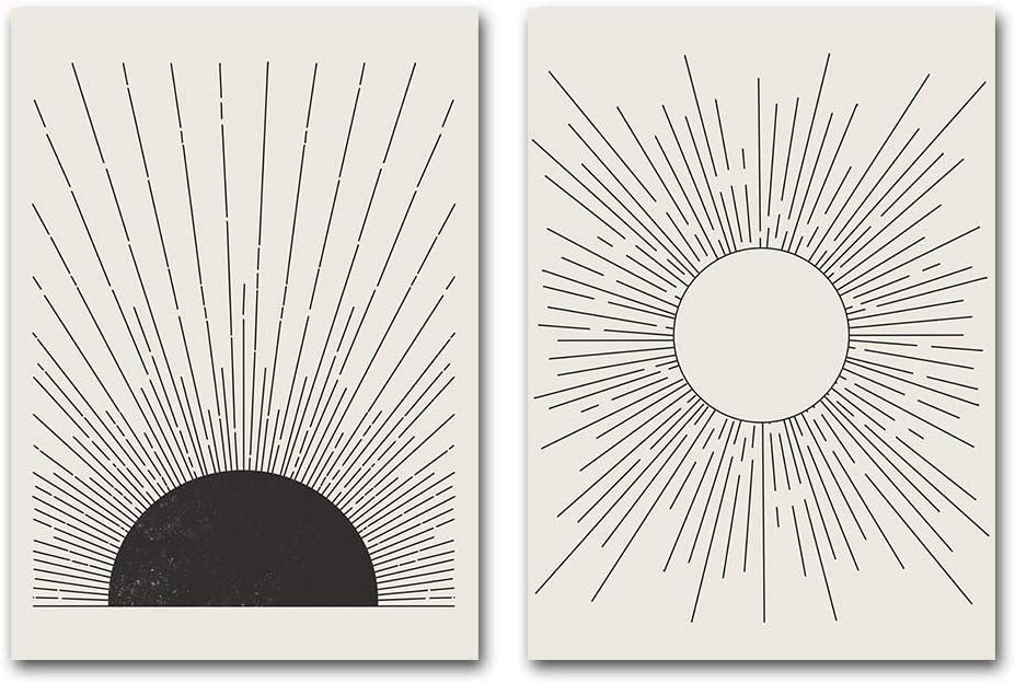 JEfunv Ilustración de Sol Pintura Abstracta Carteles de Mediados de Siglo Colores neutros Estilo Lienzo Impresiones de Arte Cuadro de Pared Decoración Moderna de la Sala de estar-40X60cmx2 sin Marco