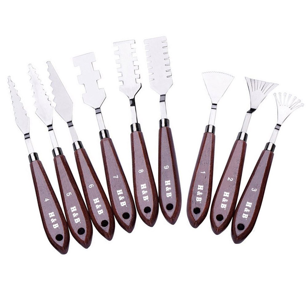 WElinks 9Pcs Professional Stainless Steel Spatulas Painting Palette Knives Art Tools Set for FX Special Effects in Oil Painting or Acrylic Mixing Paints- Thin and Flexible Art Tools for Artists