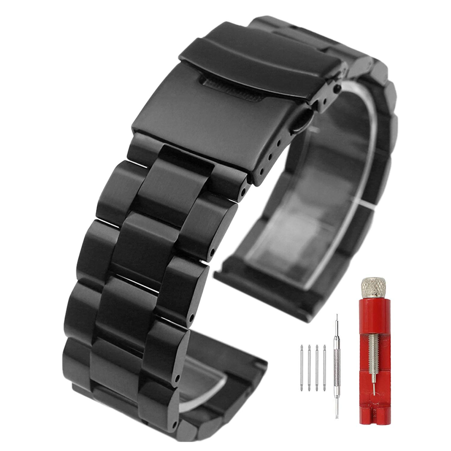 Black Stainless Steel Watch Bands Brushed Finish Watch Strap 18mm/20mm/22mm/24mm Double Buckle Bracelet (20mm) by Hstrap