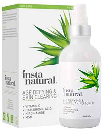 InstaNatural, Age-Defying & Skin Clearing Toner, 4 fl oz (pack of 2) Yes To Cucumbers Soothing Sensitive Skin Daily Gel Cleanser 3.38 oz (Pack of 6) + Schick Slim Twin ST for Sensitive Skin