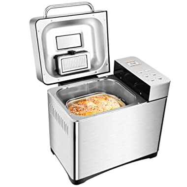 Programmable 2LB Bread Maker Machine, Gluten Free Breadmaker with Nut Dispenser, 19 Menus 3 Crust Colors, Large LCD Display Nicer User Interface, Fully Stainless Steel
