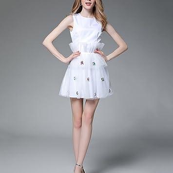 YAN Vestido de Mujer Vestidos de Las Mujeres Corto Blanco Abalorios Vestido de Autocultivo Tul Fiesta