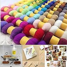 CHENGYIDA 50 DIFFERENT COLOR Wool Fibre Needle Felting (250g) + Felting Needles Starter Kits Mat Tools