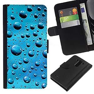 // PHONE CASE GIFT // Moda Estuche Funda de Cuero Billetera Tarjeta de crédito dinero bolsa Cubierta de proteccion Caso LG G3 / Blue Water Drops /